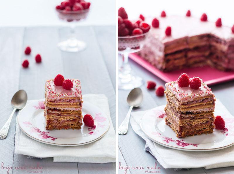 tarta de galletas con frutos rojos