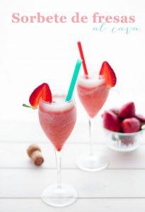 sorbete de fresas con cava